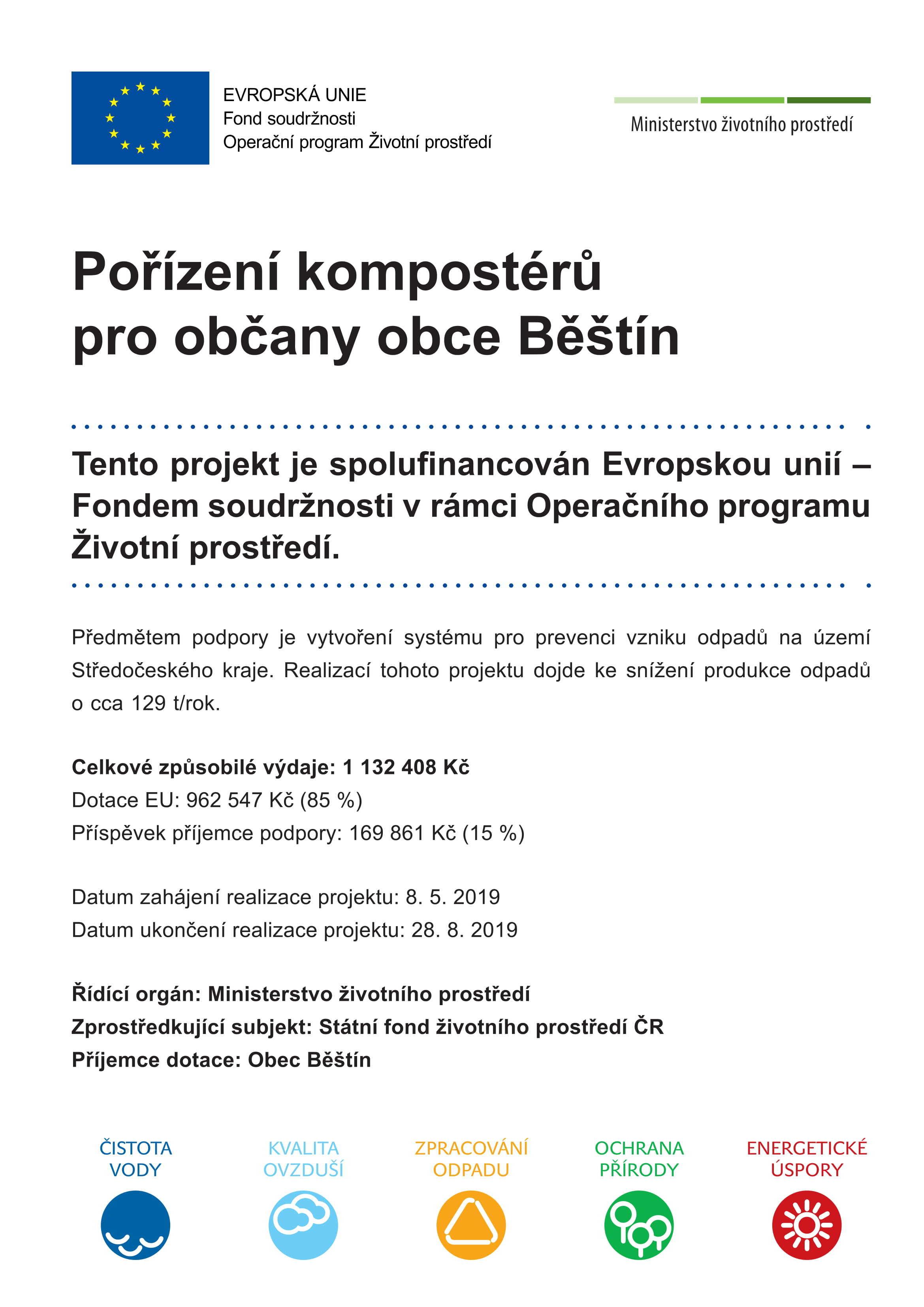 Pořízení kompostérů pro občany obce Běštín.